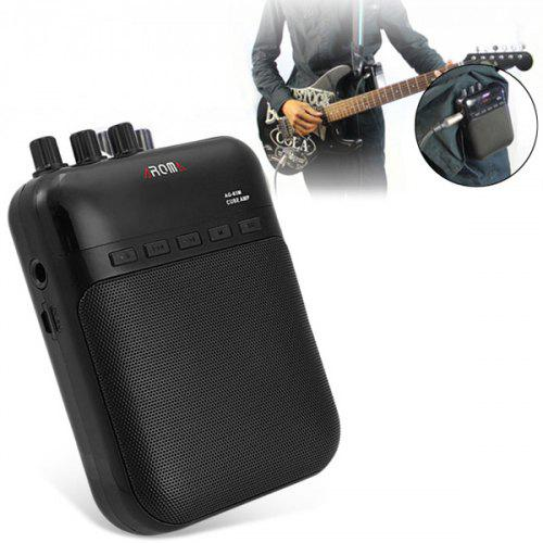 AROMA AG-03M Mini Electric Guitar Amp 5V 3W Portable Guitar Amplifier / Gguitar Tune Song Recorder / Audio Speaker - Black