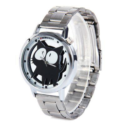 Shiweibao A7741 Transparent Dial Women Quartz Watch with Cat Pattern Stainless Steel Band