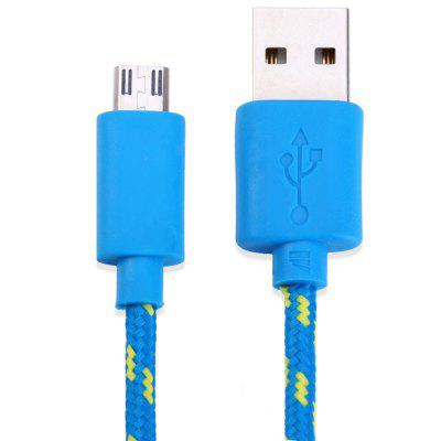 Nylon Fabric Round Data Micro USB Charging Cable 3m