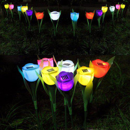 Solar Power Tulip Flower Lamp Outdoor Yard Garden Lawn Led Night Light