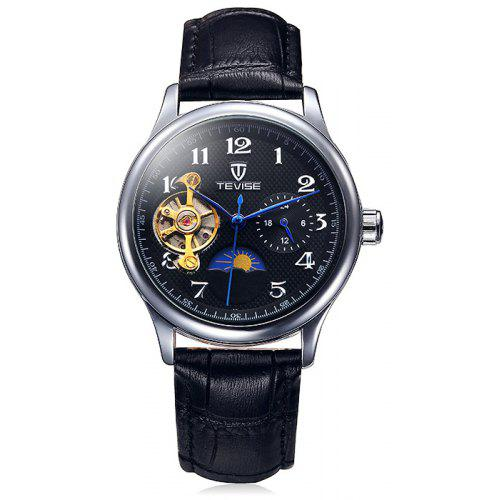 Tevise 8466 Tourbillon Design Leather Band Men Automatic Mechanical Watch - $21.73 Free Shipping|Gearbest.com