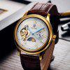 Tevise 8466 Tourbillon Design Leather Band Men Automatic Mechanical Watch - WHITE