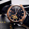 Tevise 8502 Men Tourbillon Design Automatic Mechanical Watch with Leather Band - BLACK + GLODEN