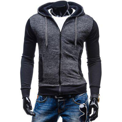 Sports Lacing Hooded Zipper Pocket Color Block Rib Hem Long Sleeves Men's Slim Fit Hoodie