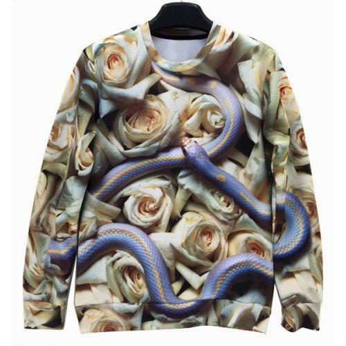 55bde479ba8a Round Neck 3D Rose and Snake Print Long Sleeve Slimming Men s Sweatshirt -   33.16 Free Shipping