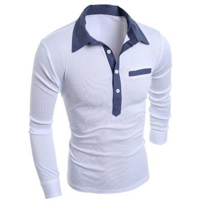 Turn-Down Collar Chambray Splicing Long Sleeve Buttons Men's T-shirt