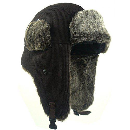 b89c3b356e2 Stylish Faux Fur and Button Embellished Knitted Trapper Hat For Men