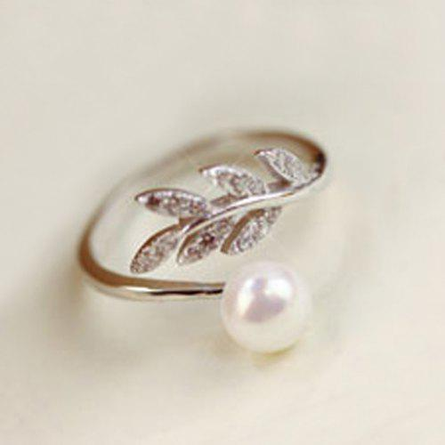4a2ce23e9c Sweet Faux Pearl Leaf Cuff Ring For Women - $3.66 Free Shipping ...