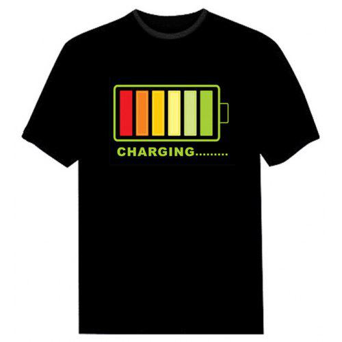 Sound Activated EL T shirt Charging Battery Pattern LED Shirt