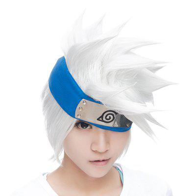 Handsome Short Fluffy Tilt Straight Vogue Silvery White Synthetic Hatake Kakashi Cosplay Wig (Without Headwear)