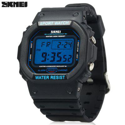 Skmei 1134 Sports Male 5ATM Water Resistant Digital Wristwatch with PU Strap