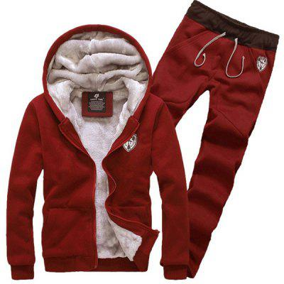 Hooded Badge Embroidery Long Sleeve Sherpa Hoodie Suit(Hoodie+Pants) for Men