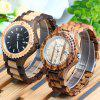 BEWELL ZS - W023A Wooden Date Quartz Wrist Watch for Men - BLACK