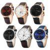 GUANQIN Male Leather Calendar Luminous Analog Quartz Watch with Moving Sub-dials - BLUE SILVER BLUE