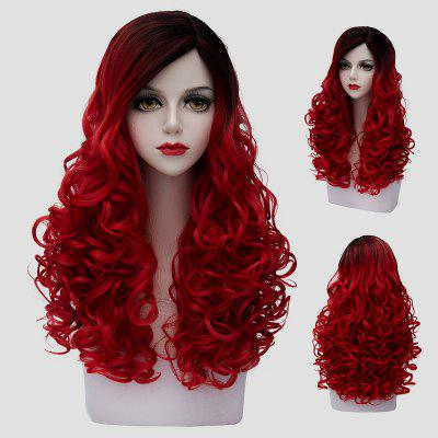 Fashion 60CM Long Shaggy Curly Synthetic Stunning Black Red Gradient Cosplay Wig For Women