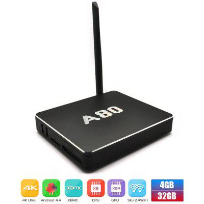 Refurbished Jesurun Q8 4GB RAM 32GB ROM Allwinner A80 Octa Core 4K x 2K Android 4.4.2 WiFi Bluetooth TV Box H.265 HEVC Google TV Player Support DLNA Miracast ( AC 100  -  240V / US Plug)