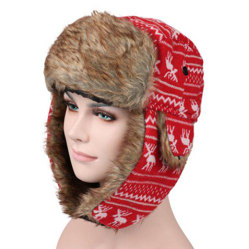 b2d3da6d93 Stylish Christmas Deer Pattern Faux Fur Knitted Trapper Hat For Men and  Women