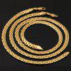 A Suit of Vintage Solid Color Woven Shape Chain Bracelet and Necklace For Men - GOLDEN