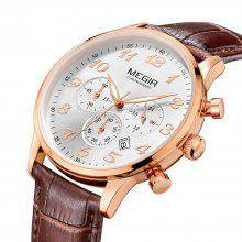Gearbest MEGIR 3781 Genuine Leather Band Men Japan Quartz Watch