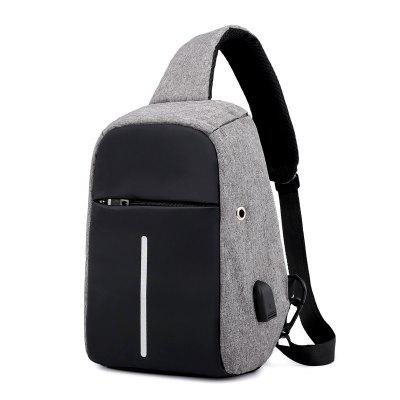 Male Trendy Outdoor Waterproof Chest Bag with USB Port