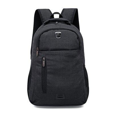 Male Trendy Simple Nylon Solid Color Backpack