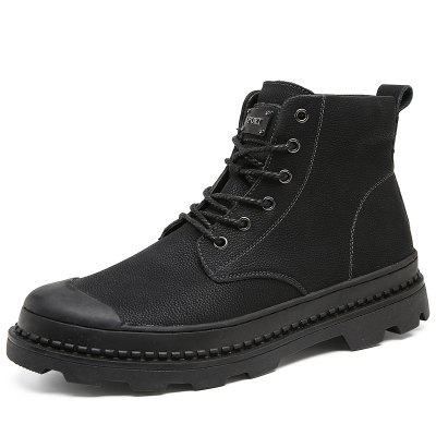 Stylish Leisure Solid Color Leather Boots for Men