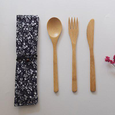 Bamboo Knife And Fork Small Wooden Spoon Cutlery