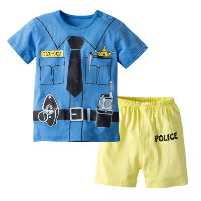 19F124H Summer European and American Home Service Boy Faux Tie Cartoon Short-sleeved Shorts Cotton Suit