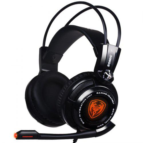 Somic G941 Portable Computer Gaming Headset Microphone USB Cable Noise Isolation Volume Game Control LED Light
