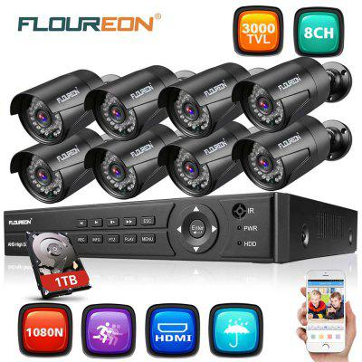 FLOUREON  8CH 1080N DVR and  8X Outdoor 3000TVL 1080P 2.0MP Camera Security Kit  1TB HDD EU
