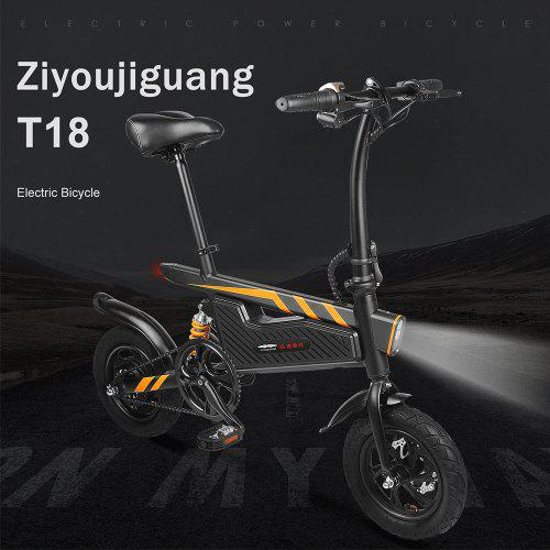 Gearbest ZIYOUJIGUANG T18 Electric Bicycle Foldable Bike Ship from Poland UPS 3-5 day delivery - Black Poland