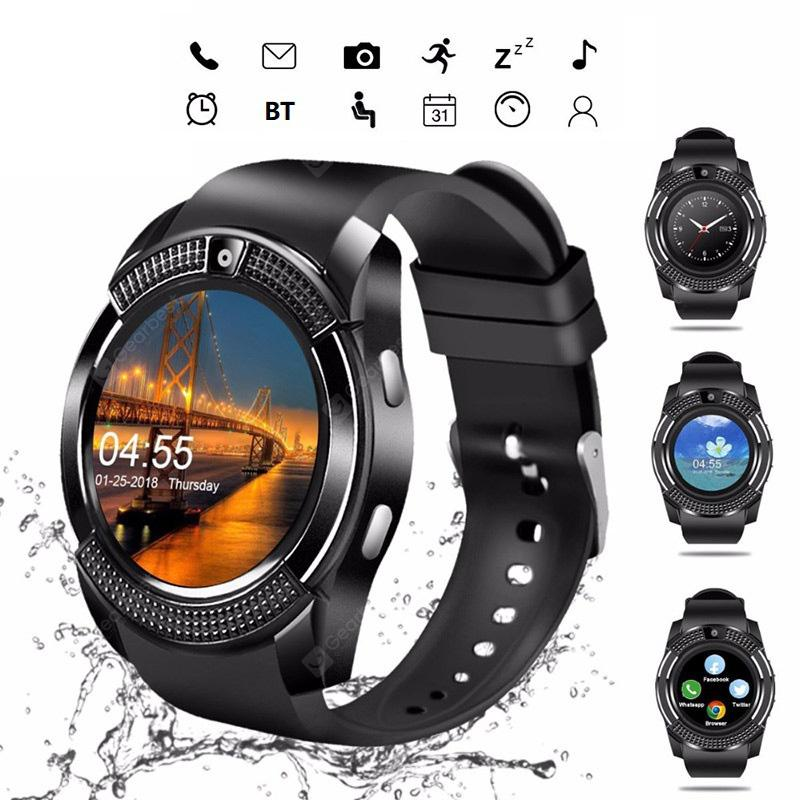LEEHUR V8 Bluetooth Smart Watch Band Touch Screen Wristband Sport Smartwatch - Black 5%commissions