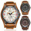 Men Fashion Artificial Leather Band Round Quartz Business Casual Watch