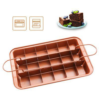 Brownie Pan Copper Steel Non-stick Baking Pan with Built-In Slicer - Ensures Perfect Crispy Edges