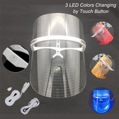 Portable 3 Colors Changing LED Photon Mask Facial Care Treatment LED Beauty Mask Light Therapy