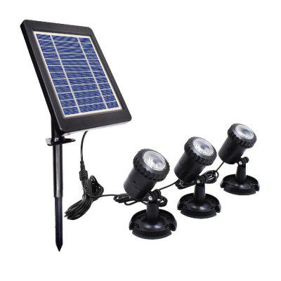 LED Solar Powered Landscape Spotlight Projection Light with 3 Lamps for Garden Pool Lawn