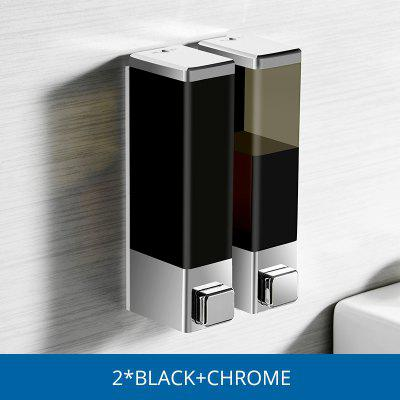 Fapully Liquid Soap Dispenser 250 Double Wall Mounted Black Chrome Square