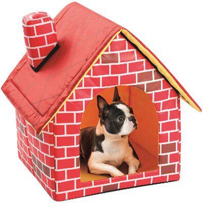 Red Pet House Classic Brick Pattern Chimney Dog Cat Puppy Teddy Sleeping Bed