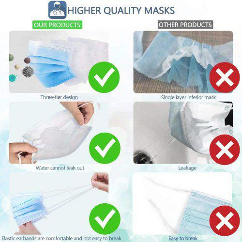 Disposable Medical Face Mask 3 Ply Anti-Dust Breathable Filter Safety Mask For Home and Office