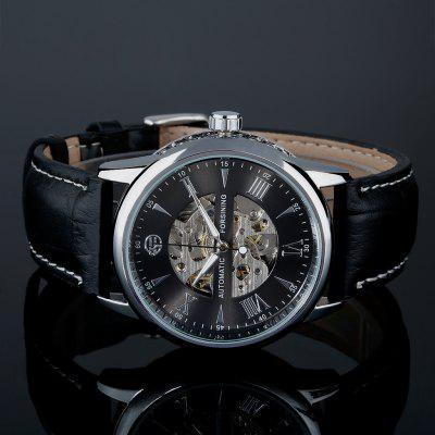 FORSINING Unique Automatic Mechanical Hollow Engraving Black Genuine Leather Skeleton Self-Wind Wristwatch        Silver Case