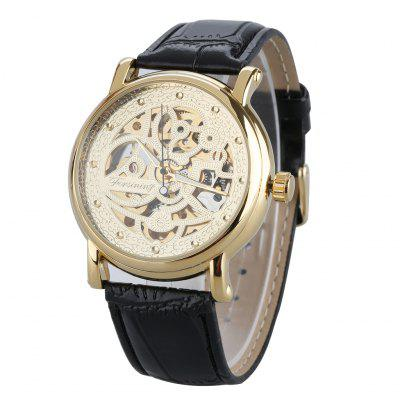 FORSINING Skeleton Dial Stainless Steel Caseback Auto Mechanical Watches Leather Wrist Men Watches
