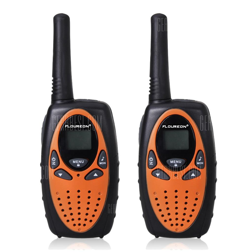 FLOUREON 8 Channel Twin Walkie Talkies UHF400-470MHZ 2-Way Radio 3KM Range Interphone 0range - BLACK AND ORANGE