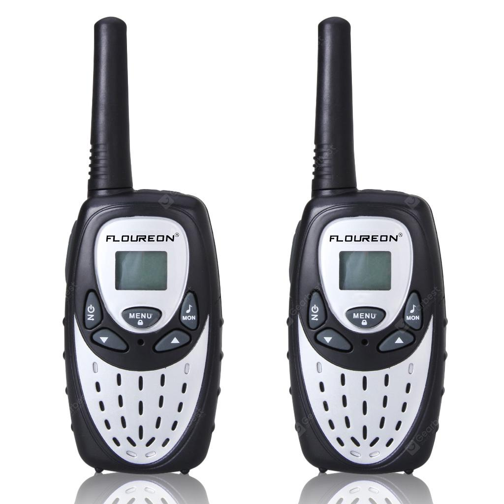 FLOUREON 8 Channel Twin Walkie Talkies UHF400-470MHZ 2-Way Radio 3KM Range Interphone Silver - BLACK WHITE