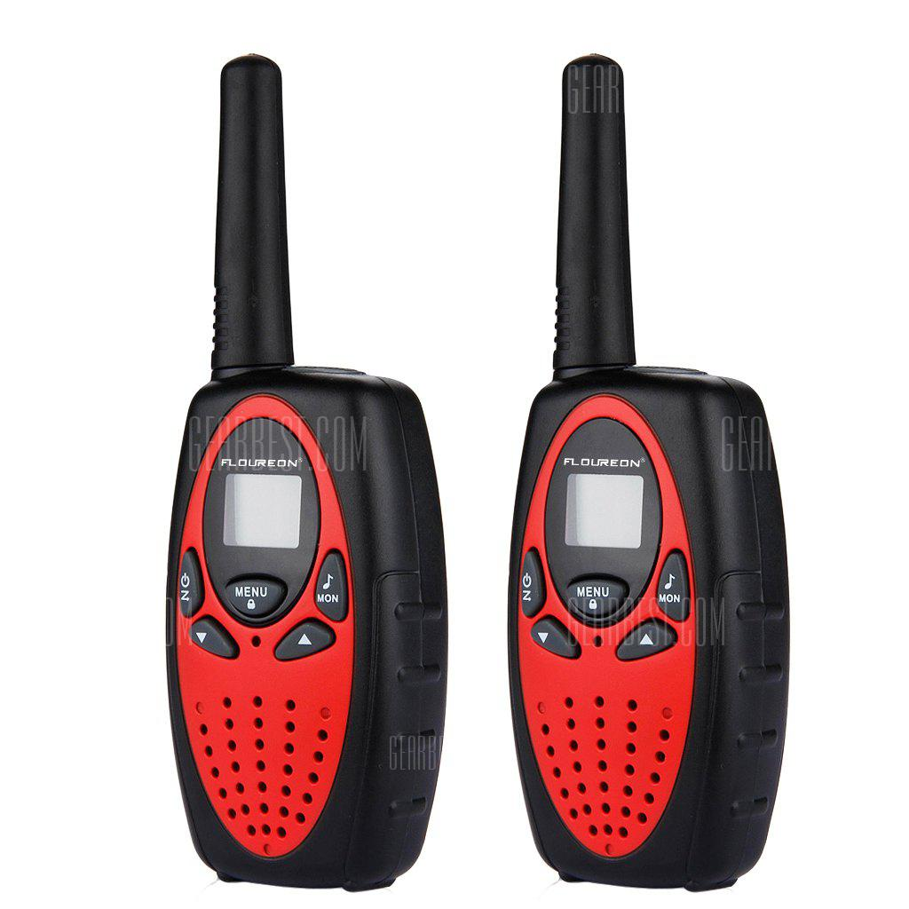 FLOUREON 8 Channel Twin Walkie Talkies UHF400-470MHZ 2-Way Radio 3KM Range Interphone Red/Black - RED