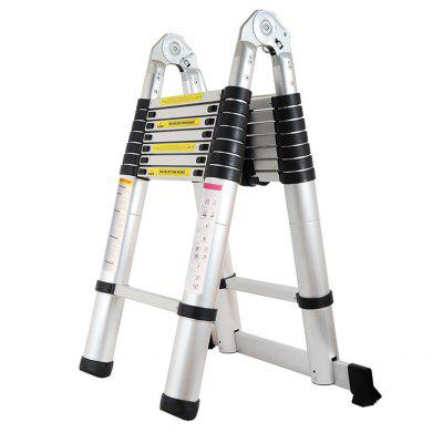 (TELE LADDER 250D 16) Finether 5M Portable Heavy Duty Multi-Purpose Aluminum Folding Telescoping A-Frame Ladder with Hinges, EN131 Certified, 330 Lb Capacity, Convient for Home Loft Office