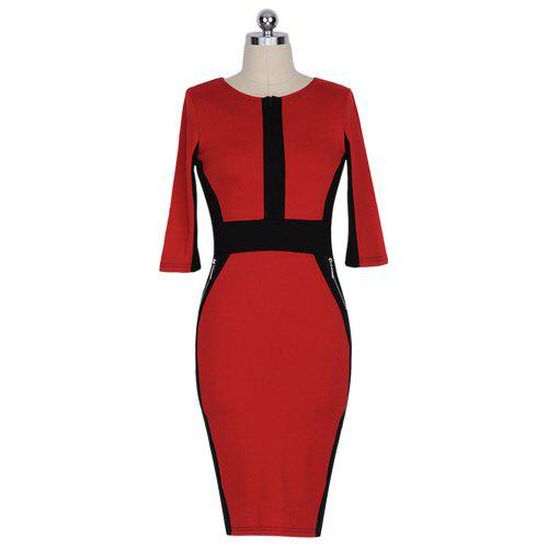 Women Contrast Color Half Sleeve Pencil Dress -  11.82 Free Shipping ... 295bd9fb7416