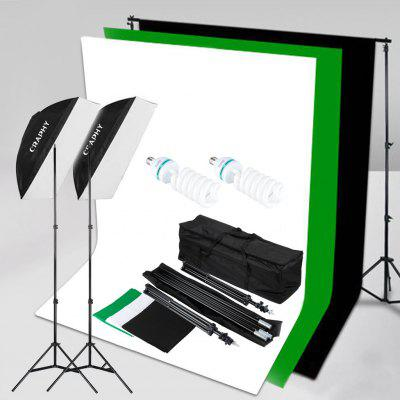 Craphy SHLP-0125 1250W 5500K Softbox Continuous Lighting Kit + 10x6.5ft Background Support System+ 3*Backdrops with Carrying Bagamp; US Plug for Photo Studio Product Portrait amp;Video Shoot Photography