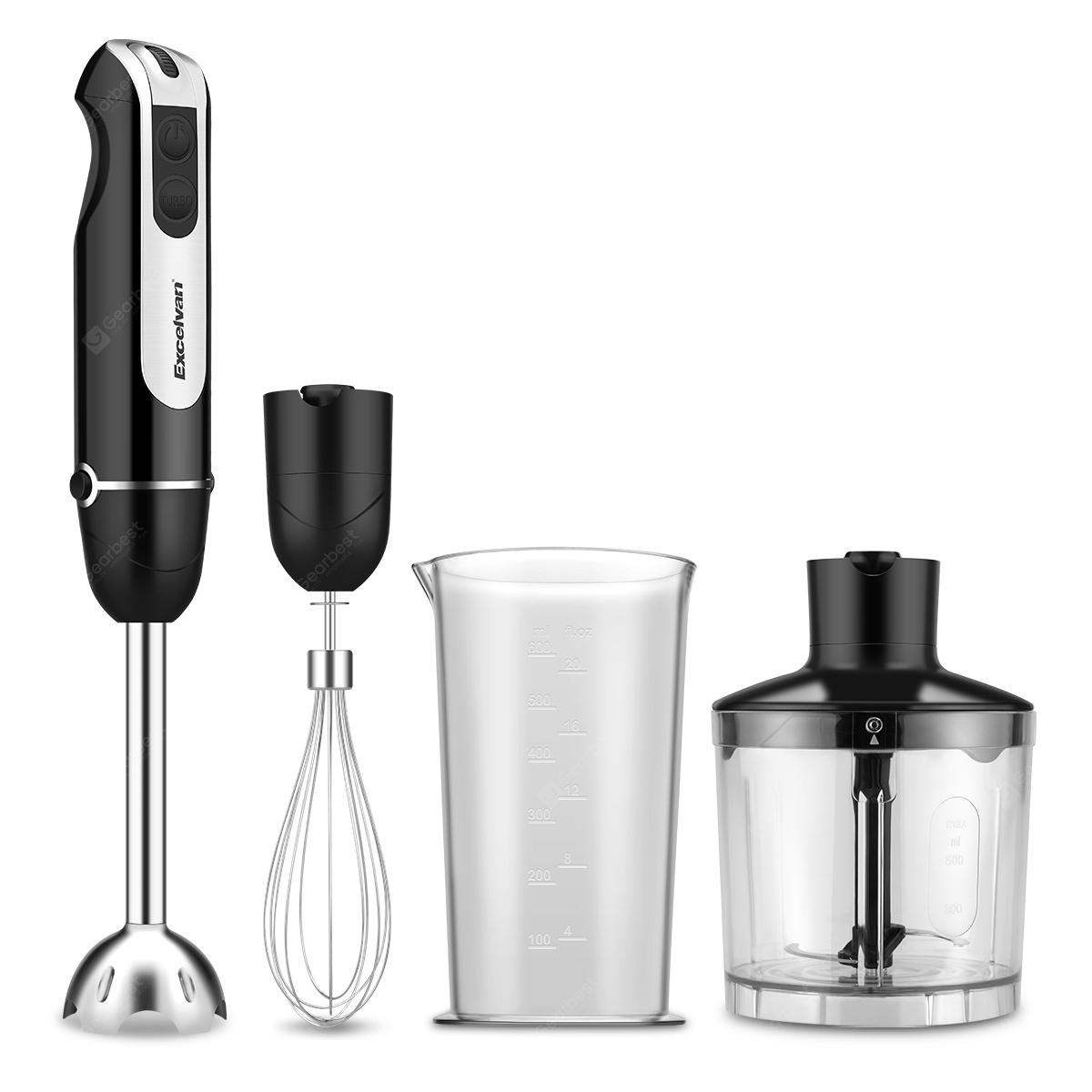 Excelvan Powerful 3-in-1 600W DC Motor Hand Blender with 500ml Chopper 600ml Beaker and Whisk Attachments Two Speed Blending Chopping Baby Food Stainless Steel Black - EU Plug