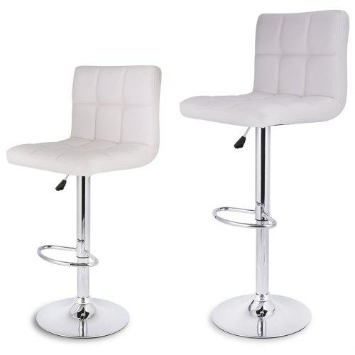 Prime Uk Quilted Faux Leather Bar Stools White Langria Set Of 2 Gas Lift Height Adjustable Swivel Quilted Faux Leather Bar Stools Chairs With Chromed Base Ibusinesslaw Wood Chair Design Ideas Ibusinesslaworg