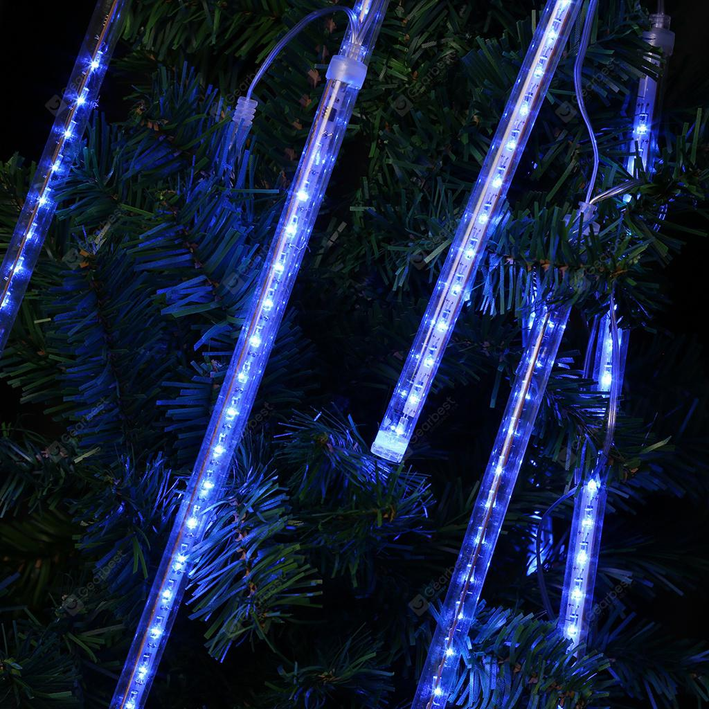 (EU TUBE LLUM BLAU) Finether 13.1 ft 8 Tube 144 LED Meteor Shower Rain Snowfall